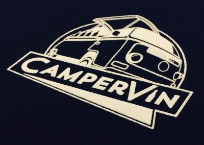 CamperVin White on Navy Print
